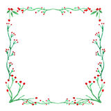 Hand drawn watercolor frame. Сranberries. Botanical theme. Islated on white Royalty Free Stock Photos