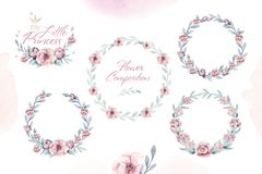 Hand drawn watercolor frames with botanical branches and leaves. Greenery. Floral Design elements. Perfect for wedding