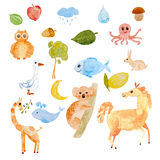 Hand drawn watercolor funny Animal set vector illustration