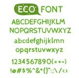 Hand drawn watercolor green natural font. Royalty Free Stock Photo