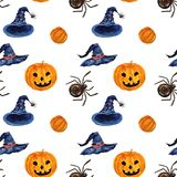 Hand drawn watercolor Halloween seamless pattern with pampkin, s vector illustration
