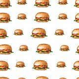 Hand drawn watercolor hamburger repeating pattern, yummy food seamless background, illustration on white backdrop. Fast food vector illustration