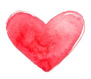 Hand drawn watercolor heart shape with uneven brush edge royalty free stock photography