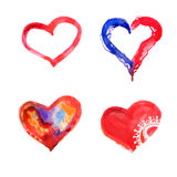Hand drawn watercolor hearts. Isolated on white Royalty Free Stock Images