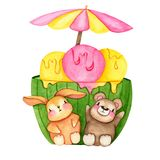 Hand drawn Watercolor Ice Cream Friends for card making, paper, textile and printing stock illustration