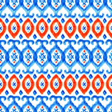Hand drawn watercolor ikat seamless ornament Royalty Free Stock Photo