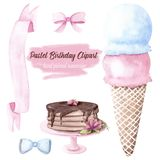 Hand drawn watercolor illustration baby girl boy birthday set ice cream cupcake cake stand ribbon banner bow pink blue. Flower icing chocolate Royalty Free Stock Images