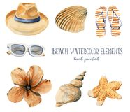 Hand drawn watercolor illustration beach set of objects hat seas royalty free illustration