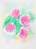 Hand drawn watercolor illustration of pink flowers. Hand drawn watercolor illustration of beautiful pink flowers with green leaves Stock Photo