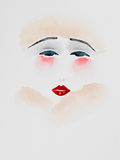 Hand drawn watercolor illustration of beautiful woman. Hand drawn watercolor illustration of beautiful, young woman with red lips and cheeks, wearing a fur hat Stock Photos