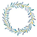 Watercolor olives wreath. Hand drawn watercolor illustration of blue olives wreaths with gold branch. Round graphic elements for wedding branding, invitations Stock Images