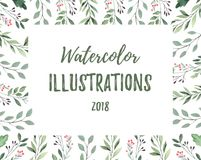 Hand drawn watercolor illustration. Botanical frame with green b stock illustration