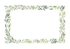 Hand drawn watercolor illustration. Botanical rectangular border. With green branches and leaves. Spring mood. Floral Design elements. Perfect for invitations stock illustration
