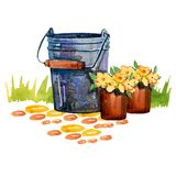 Hand drawn watercolor illustration with bucket and flower pots on grass stock illustration