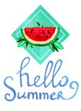 Hand drawn watercolor illustration with cartoon watermelon and leaves in green rectangular with lettering hello summer. On white background Stock Photos