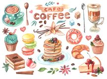 Hand drawn watercolor illustration coffee and sweets. Good for menu and cafe design Stock Photos
