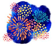 Hand drawn watercolor illustration with color stylized fireworks on blue background. Hand drawn watercolor illustration with color stylized fireworks on blue Stock Photo