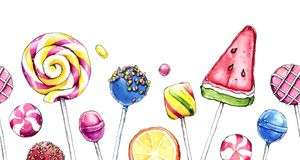 Hand drawn watercolor illustration of colorful candies. Royalty Free Stock Photography