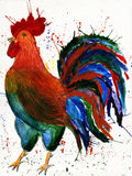 Hand drawn watercolor illustration of colorful cock on white background. Rooster. Symbol of 2017 on the Chinese calendar Stock Photo