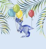 Hand drawn watercolor illustration of cute cartoon dinosaur with colorful balloons and tropical leaves. Greeting birthday card, template, poster, banner for vector illustration