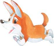Hand drawn watercolor illustration with cute little orange corgi dog puppy smiling