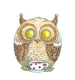 Watercolor Drawing. Orange Owl Drinking Tea. Hand drawn watercolor illustration. Cute owl drinking tea. Good for kids design Royalty Free Illustration