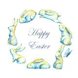 Happy Easter. Hand-drawn watercolor illustration of Easter cute bunnies sitting in the circle. Holiday Easter illustration. Greeting card template - Happy Easter Royalty Free Illustration