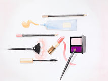 Hand drawn illustration of a makeup kit. Hand drawn watercolor illustration of essential makeup products for a woman, on white background Royalty Free Stock Images