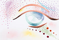 Hand drawn watercolor illustration of psychedelic eye. Hand drawn watercolor illustration of an eye with colorful, psychedelic decorative makeup Royalty Free Stock Images