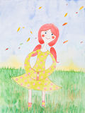 Watercolor illustration, young girl in fall season Stock Photo