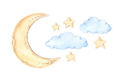 Hand Drawn watercolor illustration - Good night sleeping moon,. Stars, clouds. Baby print. Perfect for prints, postcards, posters, greeting cards etc Stock Images