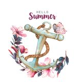 Hand-drawn watercolor illustration of the hibiscus and anchor Stock Photo