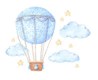 Hand drawn watercolor illustration - hot air balloon in the sky. Perfect for baby prints, posters, invitations etc vector illustration