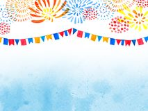 Hand drawn watercolor illustration with isolated color stylized fireworks and flags with blue gradient. Hand drawn watercolor illustration with color stylized Royalty Free Stock Photo