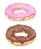 Two glazed donuts with pink and chocolate topping. royalty free illustration