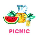 Hand drawn watercolor illustration with lemonade, watermelon and leaves. Picnic, summer eating out and barbecue. On white background Stock Images