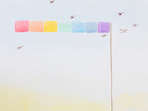 Hand drawn watercolor illustration of rainbow flag. Hand drawn watercolor illustration of a long and high rainbow flag, surrounded by flying birds Stock Image