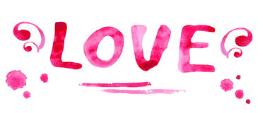 Hand drawn watercolor illustration - Love with hearts Royalty Free Stock Images