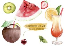 Hand drawn watercolor illustration mix set tropical exotic water. Melon kiwi strawberry cherry mint cocktail pina colada coconut tequila sunrise orange clipart vector illustration
