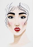 Hand Drawn Watercolor Illustration Of Beautiful Woman Stock Photography