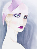 Hand Drawn Watercolor Illustration Of Mysterious Woman Stock Photography