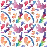 Watercolor colorful Leaves Seamless Pattern stock illustration