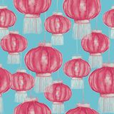 Chinese lanterns sky lantern or Kongming lantern. Hand drawn watercolor illustration, pink colors on soft blue background, seamless pattern design Stock Photos
