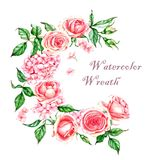 Hand-drawn watercolor illustration of the pink tender rose wreath. Romantic spring floral drawing. Roses and hydrangea wreath isolated on the white background Royalty Free Stock Photography
