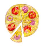 Pepperoni pizza with a cut off slice. Hand drawn watercolor illustration of a pizza isolated on white background royalty free illustration