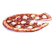 Hand-drawn watercolor illustration of the pizza with the meat stuffing and feta cheese. Drawing of the fast Italian food  on the white background Stock Photos
