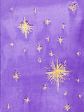Hand drawn watercolor illustration of starry sky. Hand drawn watercolor illustration of a purple, starry night sky Stock Photography