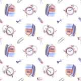 Hand drawn watercolor illustration seamless pattern back to school supplies alarm clock bag backpack paper clip pin white vector illustration