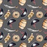 Hand drawn watercolor illustration seamless pattern pirates croc. Ked hat skull crossbones barrel compass sable rope knot dark background Stock Image