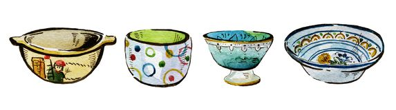 Hand drawn watercolor illustration set of ceramic bowls. Hand drawn watercolor illustration set of isolated colorful ceramic bowls on white background Stock Photography
